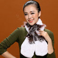 Fashion Women Knitted Rex Rabbit Fur Scarf Winter warm Flower Neck wraps - Coffee White