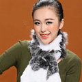 Fashion Women Knitted Rex Rabbit Fur Scarf Winter warm Flower Neck wraps - Grey White