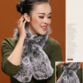 Fashion Women Knitted Rex Rabbit Fur Scarf Winter warm Flower Neck wraps - Grey
