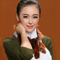Fashion Women Knitted Rex Rabbit Fur Scarf Winter warm Flower Neck wraps - Orange White
