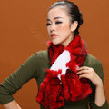 Fashion Women Knitted Rex Rabbit Fur Scarf Winter warm Flower Neck wraps - Red White