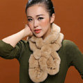 Fashion Women Knitted Rex Rabbit Fur Scarves Winter warm Flower Wave Neck wraps - Beige