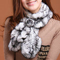 Fashion Women Knitted Rex Rabbit Fur Scarves Winter warm Flower Wave Neck wraps - Black White