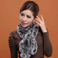 Fashion Women Knitted Rex Rabbit Fur Scarves Winter warm Flower Wave Neck wraps - Grey Black