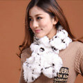 Fashion Women Knitted Rex Rabbit Fur Scarves Winter warm Flower Wave Neck wraps - White Black
