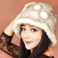 Fashion Women Mink hair Fur Hat Winter Thicker Warm Handmade Knitted Caps - Beige