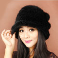 Fashion Women Mink hair Fur Hat Winter Thicker Warm Handmade Knitted Caps - Black
