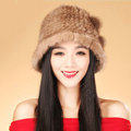 Fashion Women Mink hair Fur Hat Winter Thicker Warm Handmade Knitted Caps - Brown