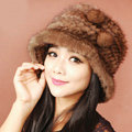 Fashion Women Mink hair Fur Hat Winter Thicker Warm Handmade Knitted Caps - Coffee