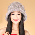 Fashion Women Mink hair Fur Hat Winter Thicker Warm Handmade Knitted Caps - Grey