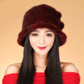 Fashion Women Mink hair Fur Hat Winter Thicker Warm Handmade Knitted Caps - Red