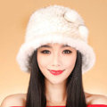 Fashion Women Mink hair Fur Hat Winter Thicker Warm Handmade Knitted Caps - White