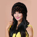 Fashion Women Mink hair Fur Hat Winter Warm Handmade Knitted Caps - Black Coffee