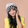 Fashion Women Mink hair Fur Hat Winter Warm Handmade Knitted Caps - Black White