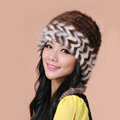 Fashion Women Mink hair Fur Hat Winter Warm Handmade Knitted Caps - Coffee White