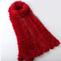 Fashion Women soft feather yarn knitted scarf shawls warm Neck Wrap tippet - Deep red