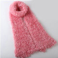Fashion Women soft feather yarn knitted scarf shawls warm Neck Wrap tippet - Light red