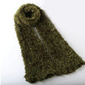 Fashion Women soft feather yarn knitted scarf shawls warm Neck Wrap tippet - Olive green