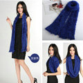 Fashion Women soft feather yarn knitted scarf shawls warm Neck Wrap tippet - Sapphire