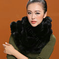 Fashion women men Knitted Rex Rabbit Fur Scarves Winter warm Scarf Neck wraps - Black
