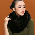 Fashion women men Knitted Rex Rabbit Fur Scarves Winter warm Scarf Neck wraps - Coffee