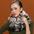 Fashion women men Knitted Rex Rabbit Fur Scarves Winter warm Scarf Neck wraps - Grey