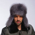 Fox fur leifeng hat man thermal winter windproof Ear protector male genuine leather Caps - Black
