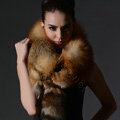 Fox fur scarf fashion Women Whole fox fur shawl winter warm tippet neck wrap - Brown