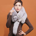 Fox fur scarf fashion Women Whole fox fur shawl winter warm tippet neck wrap - Grey