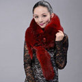Fox fur scarf fashion Women Whole fox fur shawl winter warm tippet neck wrap - Red