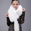 Fox fur scarf fashion Women Whole fox fur shawl winter warm tippet neck wrap - White