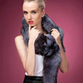 Fox fur scarf fashion women man Whole fox fur shawl winter warm tippet neck wrap - Silverblue
