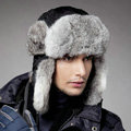 Rabbit fur leifeng hat for man thermal winter windproof Ear protector Caps XXL size - Black
