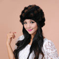 Women Knitted Mink hair Fur Hat Winter Warm Handmade Flower fur ball Caps - Black Brown