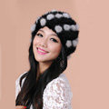 Women Knitted Mink hair Fur Hat Winter Warm Handmade Flower fur ball Caps - Black Grey