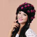 Women Knitted Mink hair Fur Hat Winter Warm Handmade Flower fur ball Caps - Black Rose