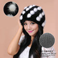 Women Knitted Mink hair Fur Hat Winter Warm Handmade Flower fur ball Caps - Black White