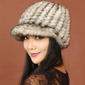 Women Knitted Mink hair Fur Hats Winter Warm Whole Leather Peaked Caps - Beige