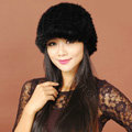 Women Knitted Mink hair Fur Hats Winter Warm Whole Leather Peaked Caps - Black