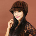 Women Knitted Mink hair Fur Hats Winter Warm Whole Leather Peaked Caps - Brown