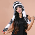 Women Knitted Rex Rabbit Fur Hats Thicker Winter Ear protector Scarf Warm Caps - Black White
