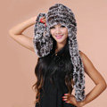 Women Knitted Rex Rabbit Fur Hats Thicker Winter Ear protector Scarf Warm Caps - Brown