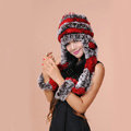 Women Knitted Rex Rabbit Fur Hats Thicker Winter Ear protector Scarf Warm Caps - Red Brown
