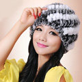 Women Knitted Rex Rabbit Fur Hats Thicker Winter Handmade Thermal Twill Caps - Black White