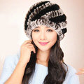 Women Knitted Rex Rabbit Fur Hats Thicker Winter Handmade Thermal Twill Caps - Brown Black