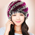 Women Knitted Rex Rabbit Fur Hats Thicker Winter Handmade Thermal Twill Caps - Brown Purple