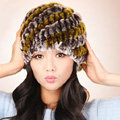 Women Knitted Rex Rabbit Fur Hats Thicker Winter Handmade Thermal Twill Caps - Brown Yellow