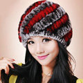 Women Knitted Rex Rabbit Fur Hats Thicker Winter Handmade Thermal Twill Caps - Coffee Red