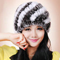 Women Knitted Rex Rabbit Fur Hats Thicker Winter Handmade Thermal Twill Caps - Coffee White