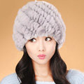 Women Knitted Rex Rabbit Fur Hats Thicker Winter Handmade Thermal Twill Caps - Grey